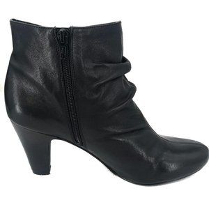 BCBG Black Heeled Soft Leather Booties 10B